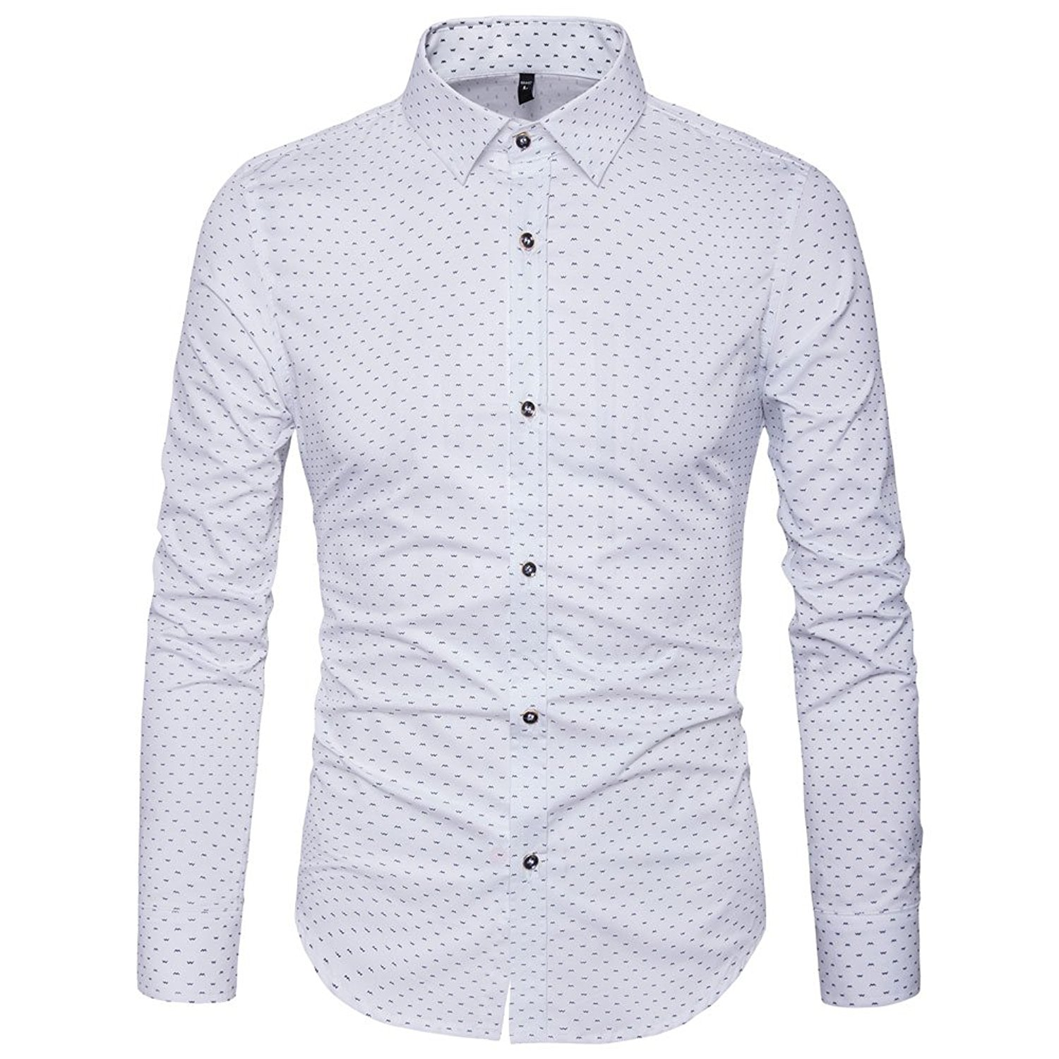 b54d28bcb68 MUSE FATH Mens Printed Dress Shirt-100% Cotton Casual Long Sleeve Shirt- Regular